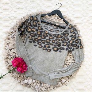 Anthropologie Moth Leopard Grey Sweater